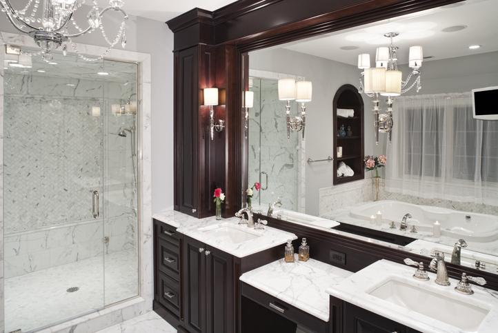 large bathroom with walk in shower